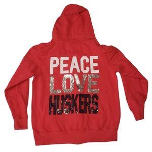Peace Love Huskers Hoodie Nebraska Sweatshirt L